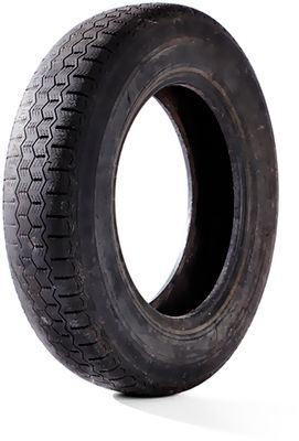 A tire that is nearing the end of it's useful life on a white background.